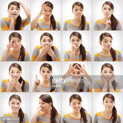 Grille de femme de différents gestes et émotions