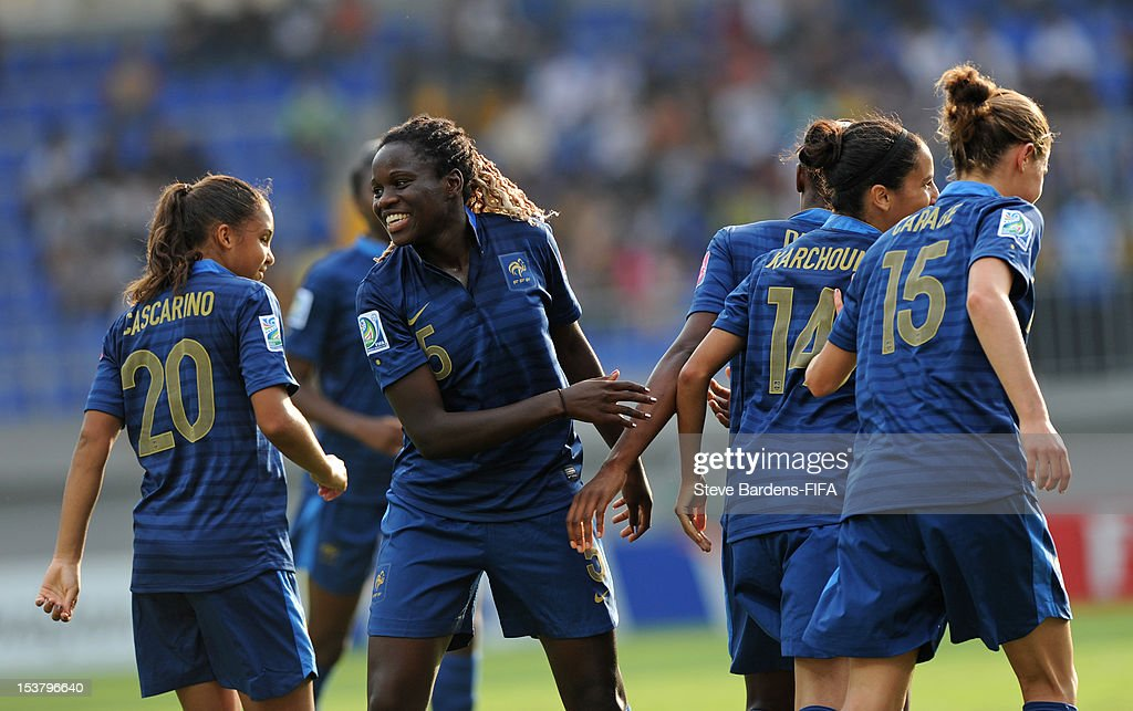 Griedge Mbock-Bathy (3rd L) celebrates the goal scored by Diani Kadidiatou during the FIFA U-17 Women's World Cup 2012 Semi-Final match between France and Ghana at 8KM Stadium on October 9, 2012 in Baku, Azerbaijan.