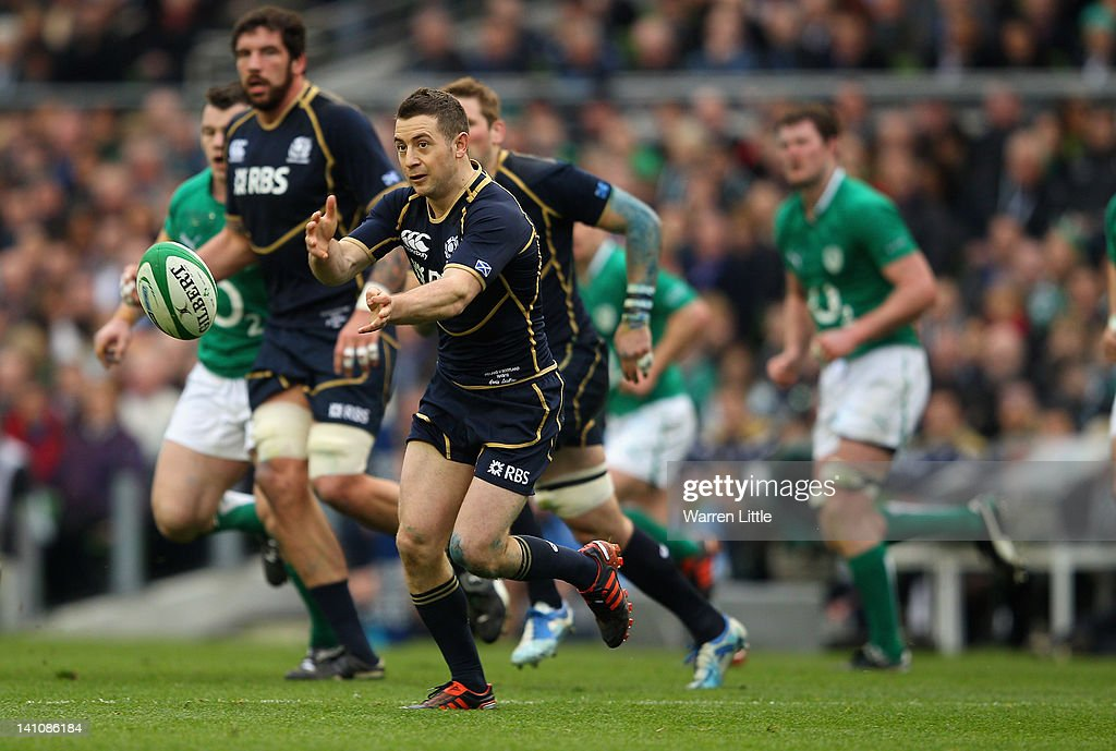 Grieg Laidlaw of Scotland in action during the RBS Six Nations match between Ireland and Scotland at Aviva Stadium on March 10, 2012 in Dublin, Ireland.