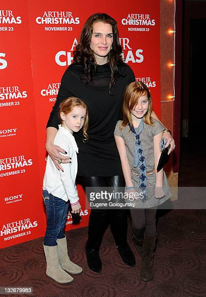 Grier Hammond Henchy Brooke Shields and Rowan Francis Henchy attends the 'Arthur Christmas' premiere at the Clearview Chelsea Cinemas on November 13...