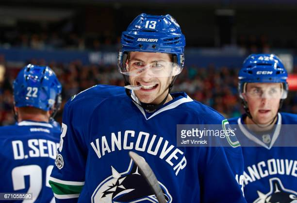 Griffen Molino of the Vancouver Canucks skates up ice during their NHL game against the Los Angeles Kings at Rogers Arena March 31 2017 in Vancouver...