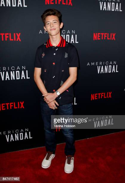 Griffin Gluck attends the premiere of Netflix's 'American Vandal' at ArcLight Hollywood on September 14 2017 in Hollywood California