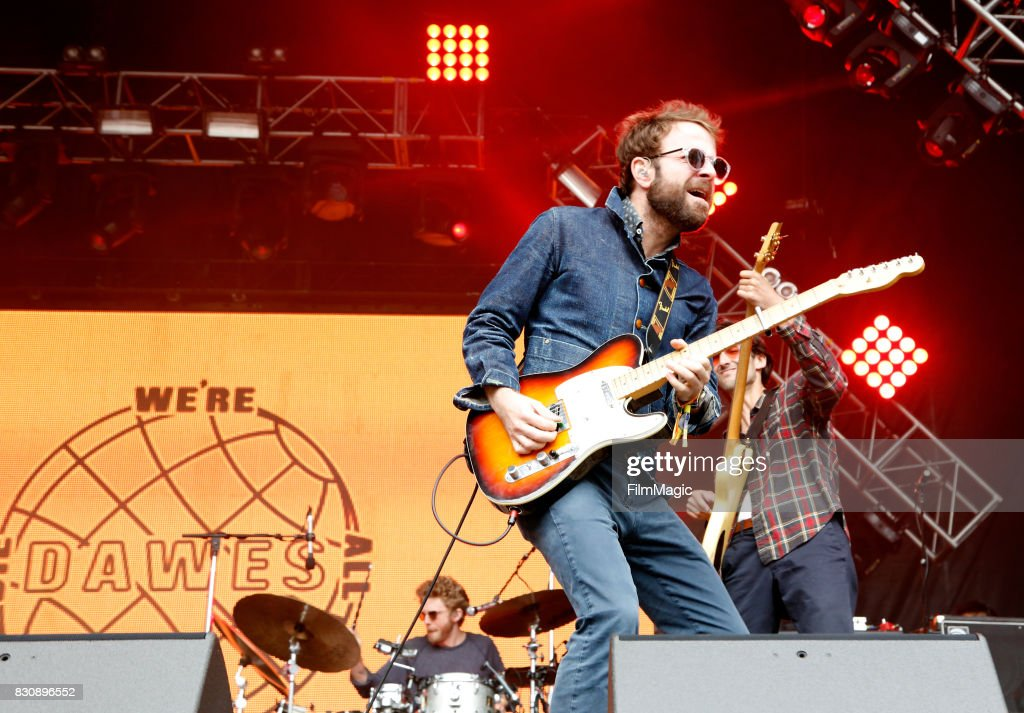 Griffin Goldsmith, Taylor Goldsmith and Wylie Gelber of Dawes performs on the Sutro Stage during the 2017 Outside Lands Music And Arts Festival at Golden Gate Park on August 12, 2017 in San Francisco, California.