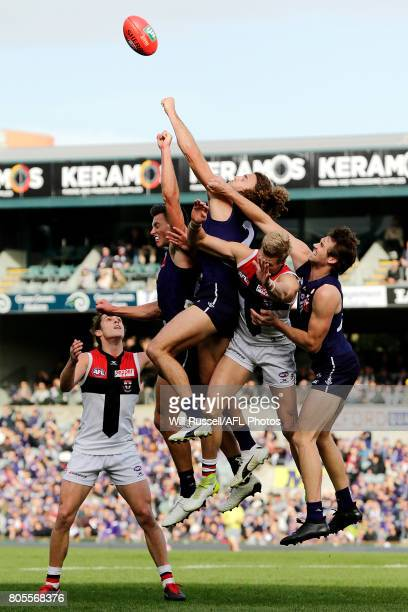 Griffin Logue of the Dockers attempts a pack mark during the round 15 AFL match between the Fremantle Dockers and the St Kilda Saints at Domain...