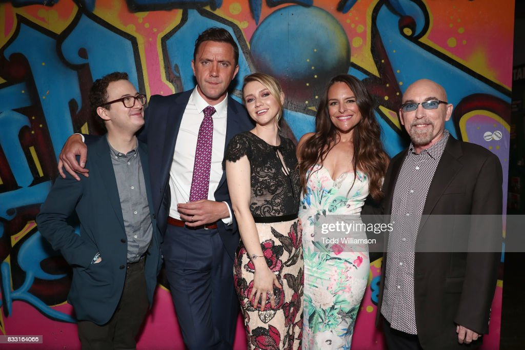 Griffin Newman, Peter Serafinowicz, Valorie Curry, Yara Martinez and Jackie Earle Haley attend the blue carpet premiere of Amazon Prime Video original series 'The Tick' at Village East Cinema on August 16, 2017 in New York City.