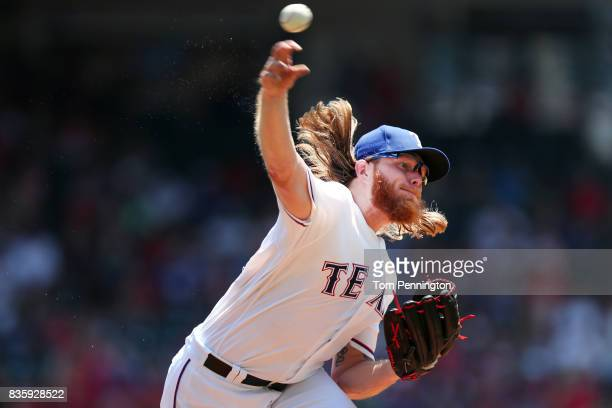 J Griffin of the Texas Rangers pitches against the Chicago White Sox in the top of the first inning at Globe Life Park in Arlington on August 20 2017...