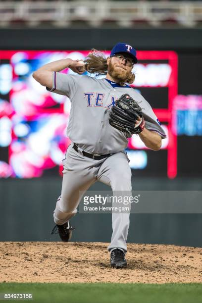 J Griffin of the Texas Rangers pitches against the Minnesota Twins on August 3 2017 at Target Field in Minneapolis Minnesota The Rangers defeated the...