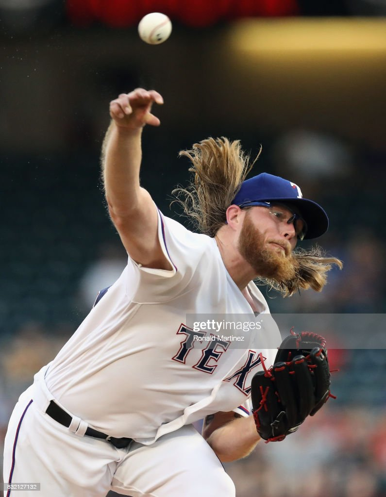 A.J. Griffin #64 of the Texas Rangers throws against the Detroit Tigers in the first inning at Globe Life Park in Arlington on August 15, 2017 in Arlington, Texas.