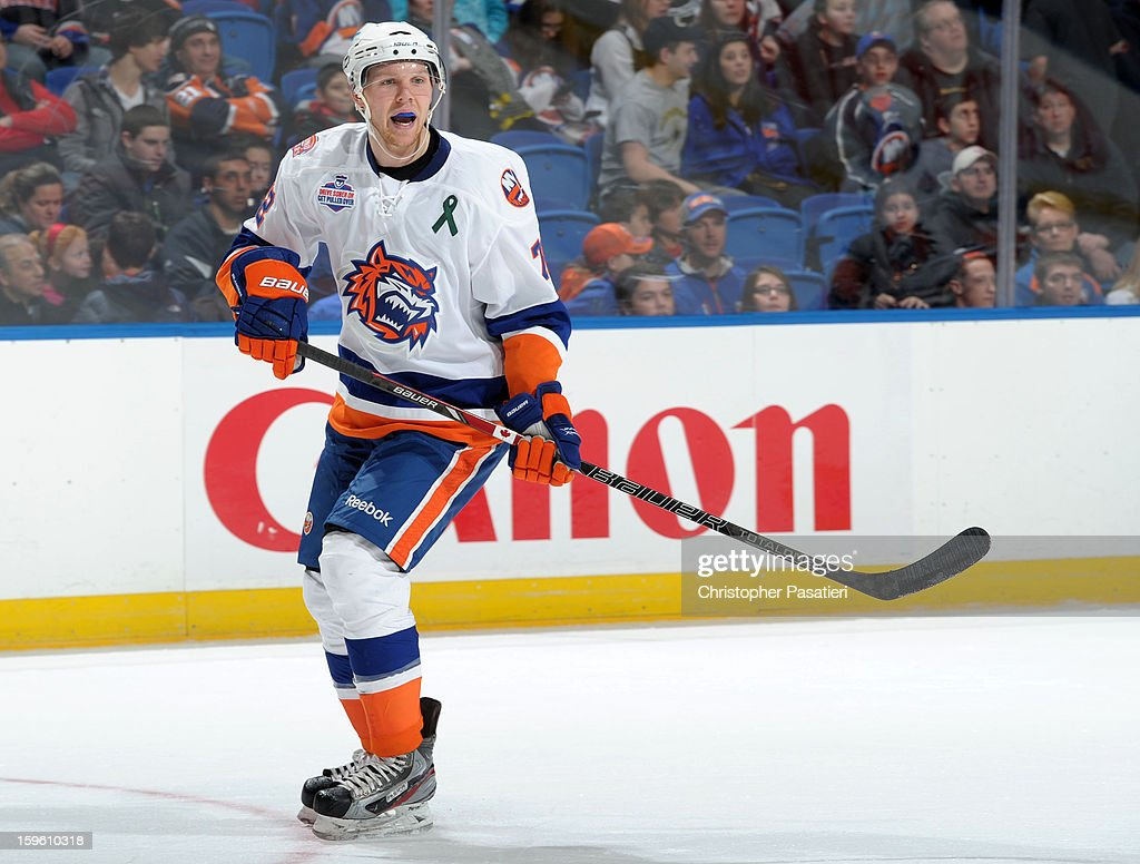 Griffin Reinhart #72 of Team White skates during a scrimmage match between players of the New York Islanders and Bridgeport Sound Tigers on January 16, 2013 at Nassau Veterans Memorial Coliseum in Uniondale, New York.