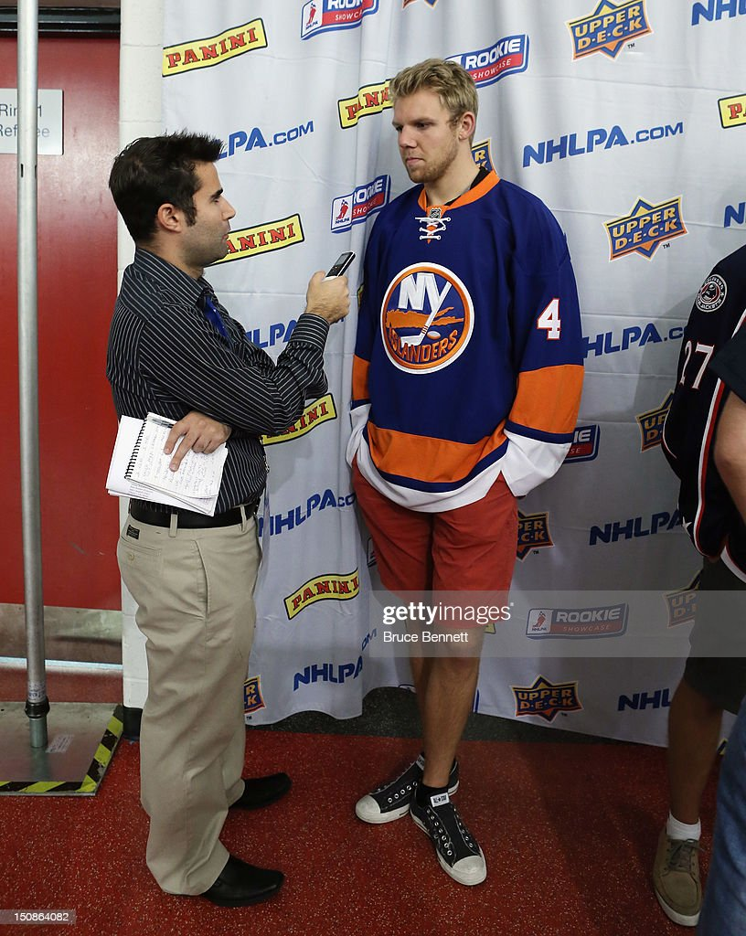 Griffin Reinhart of the New York Islanders meets with the media at the 2012 NHLPA rookie showcase at the MasterCard Centre on August 28, 2012 in Toronto, Canada.