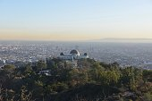 Griffith Observatory and Los Angeles basin hiking up Mount Hollywood. Los Angeles, California.