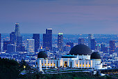 Griffith observatory with downtown Los Angeles in the background.
