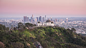 Griffith Observatory and Los Angeles city skyline at sunset