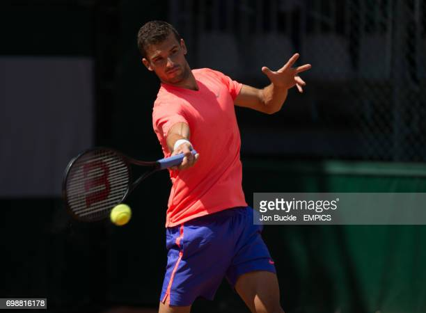 Grigor Dimitrov during his practice session with Andy Murray on day one of the French Open at Roland Garros on May 24 2015 in Paris France