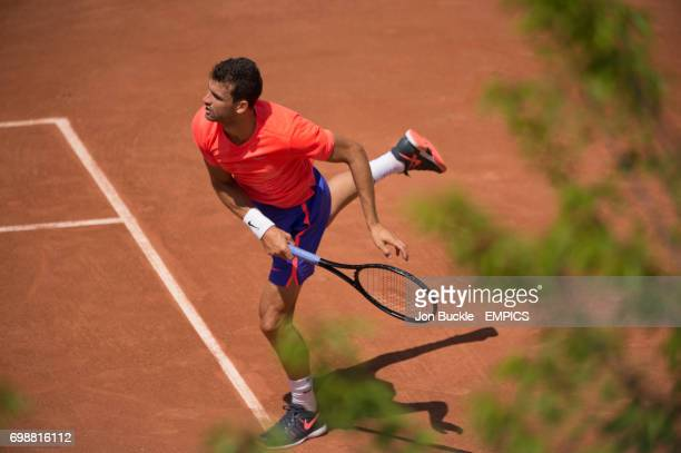 Grigor Dimitrov during practice on court 12 on day one of the French Open at Roland Garros on May 24 2015 in Paris France