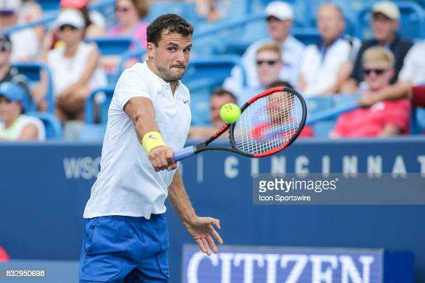 Grigor Dimitrov hits a backhand during the Western Southern Open at the Lindner Family Tennis Center in Mason Ohio on August 16 2017