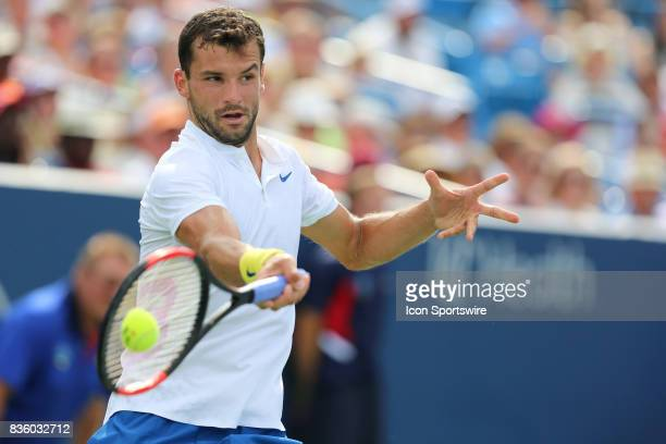 Grigor Dimitrov hits a forehand during the championship match against Nick Kyrgios during the Western Southern Open at the Lindner Family Tennis...