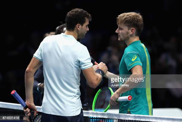 Grigor Dimitrov of Bulgaria and David Goffin of Belgium shake hands following their singles match on day four of the 2017 Nitto ATP World Tour Finals...