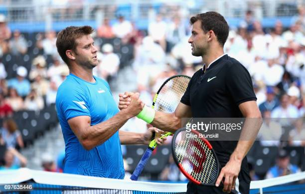 Grigor Dimitrov of Bulgaria and opponant Ryan Harrison of The United States shake hands following the mens singles first round match during day one...