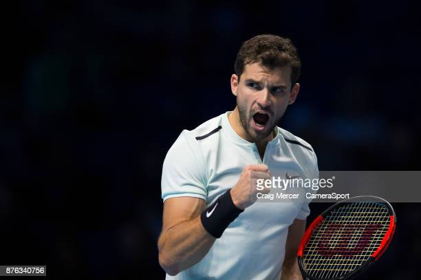 Grigor Dimitrov of Bulgaria celebrates a point against David Goffin of Belgium in the Mens Final today Dimitrov def Goffin 75 46 63 at O2 Arena on...