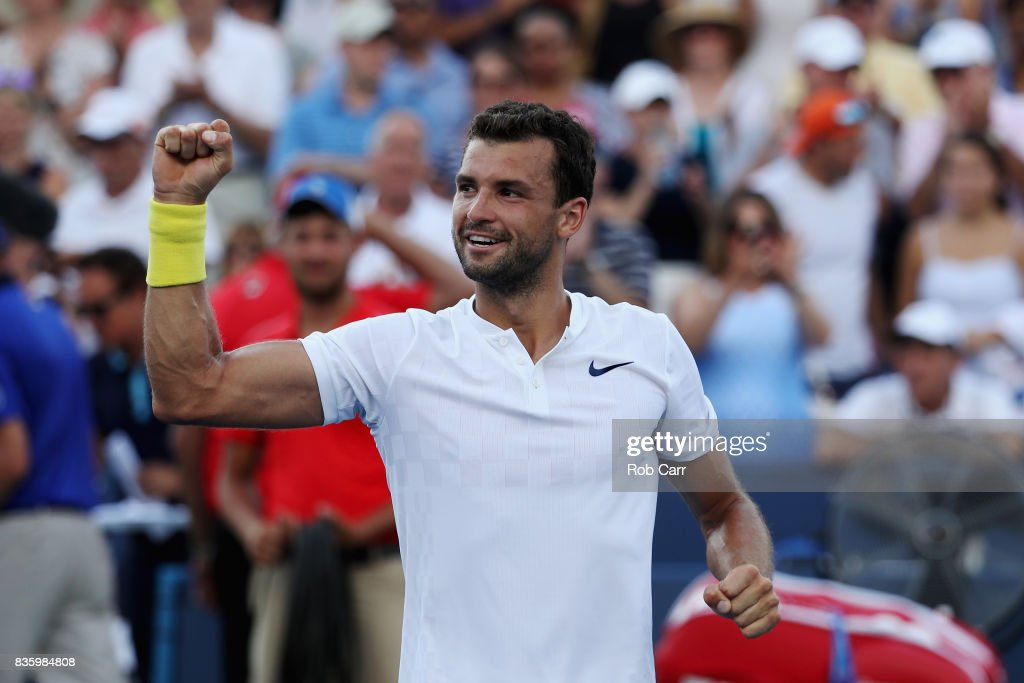 Grigor Dimitrov of Bulgaria celebrates after defeating Nick Kyrgios of Australia to win the men's final during Day 9 of of the Western and Southern Open at the Linder Family Tennis Center on August 20, 2017 in Mason, Ohio.