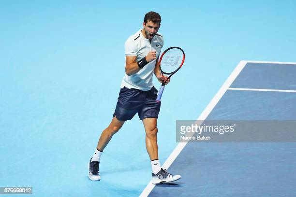 Grigor Dimitrov of Bulgaria celebrates after winning a point during the singles final against David Goffin of Belgium during day eight of the 2017...