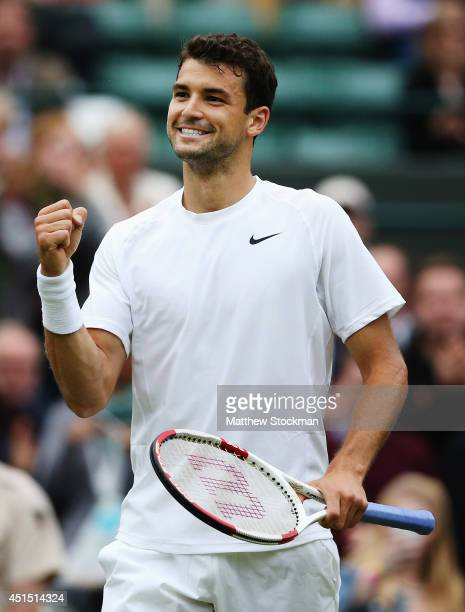 Grigor Dimitrov of Bulgaria celebrates after winning his Gentlemen's Singles fourth round match against Leonardo Mayer of Argentina on day seven of...