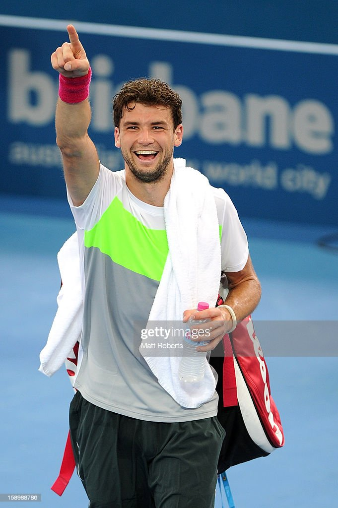 Grigor Dimitrov of Bulgaria celebrates after winning his semi final match against Marcos Baghdatis of Cyprus on day seven of the Brisbane International at Pat Rafter Arena on January 5, 2013 in Brisbane, Australia.