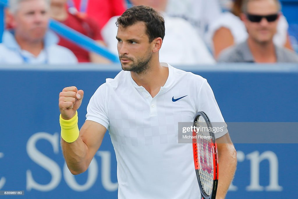 Grigor Dimitrov of Bulgaria celebrates against Nick Kyrgios of Austrailia in the men's final on Day 9 of the Western and Southern Open at the Linder Family Tennis Center on August 20, 2017 in Mason, Ohio.