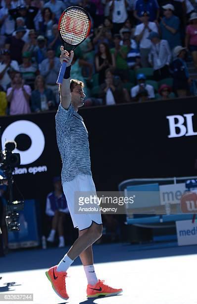 Grigor Dimitrov of Bulgaria celebrates during his Australian Open Men's Singles quarterfinal match against David Goffin of Belgium at Rod Laver Arena...