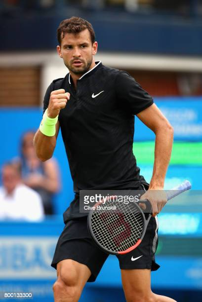Grigor Dimitrov of Bulgaria celebrates during the mens singles quarter final match against Daniil Medvedev of Russia on day five of the 2017 Aegon...