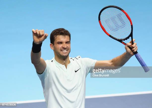Grigor Dimitrov of Bulgaria celebrates during the singles match against David Goffin of Belgium on day four of the 2017 Nitto ATP World Tour Finals...