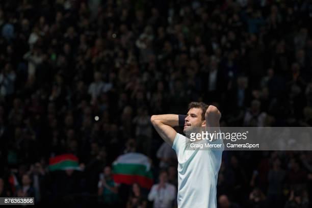 Grigor Dimitrov of Bulgaria celebrates his victory against David Goffin of Belgium in the Mens Final today Dimitrov def Goffin 75 46 63 at O2 Arena...