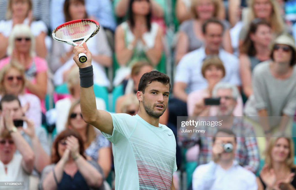 <a gi-track='captionPersonalityLinkClicked' href=/galleries/search?phrase=Grigor+Dimitrov&family=editorial&specificpeople=4332557 ng-click='$event.stopPropagation()'>Grigor Dimitrov</a> of Bulgaria celebrates his win after his match against Jerzy Janowicz of Poland during The Boodles Tennis Event at Stoke Park on June 21, 2013 in Stoke Poges, England.