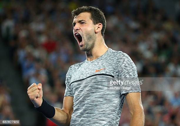 Grigor Dimitrov of Bulgaria celebrates in his semifinal match against Rafael Nadal of Spain on day 12 of the 2017 Australian Open at Melbourne Park...