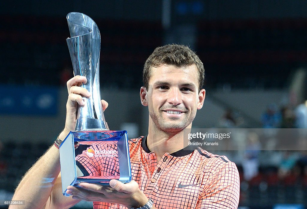 Grigor Dimitrov of Bulgaria celebrates victory against Kei Nishikori of Japan after the Men's Final on day eight of the 2017 Brisbane International at Pat Rafter Arena on January 8, 2017 in Brisbane, Australia.