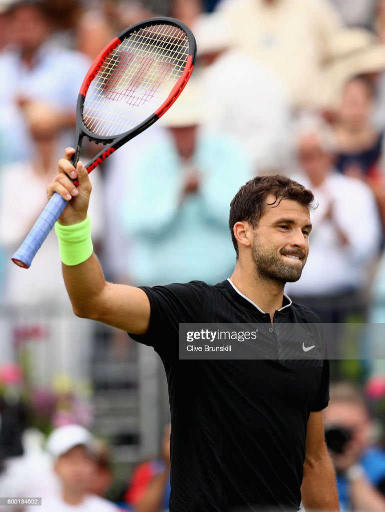 Grigor Dimitrov of Bulgaria celebrates victory during the mens singles quarter final match against Daniil Medvedev of Russia on day five of the 2017 Aegon Championships at Queens Club on June 23, 2017 in London, England.