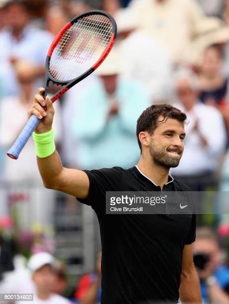 Grigor Dimitrov of Bulgaria celebrates victory during the mens singles quarter final match against Daniil Medvedev of Russia on day five of the 2017...