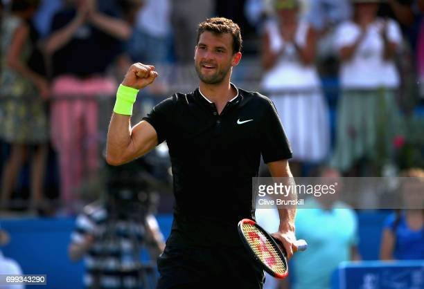 Grigor Dimitrov of Bulgaria celebrates victory following the mens singles second round match against Julien Benneteau of France on day three of the...