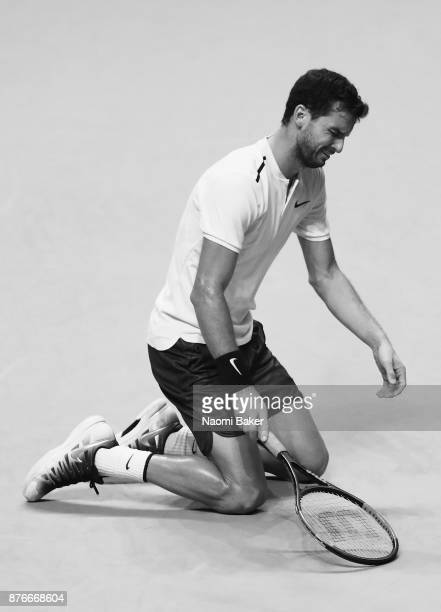 Grigor Dimitrov of Bulgaria celebrates victory following the singles final against David Goffin of Belgium during day eight of the 2017 Nitto ATP...