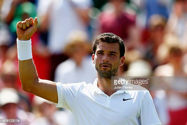 Grigor Dimitrov of Bulgaria celebrates victory in his Gentlemens Singles Second Round match against Steve Johnson of the United States during day...