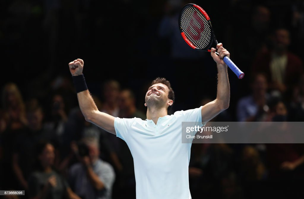 Grigor Dimitrov of Bulgaria celebrates victory in his Singles match against Dominic Thiem of Austria during day two of the Nitto ATP World Tour Finals at O2 Arena on November 13, 2017 in London, England.