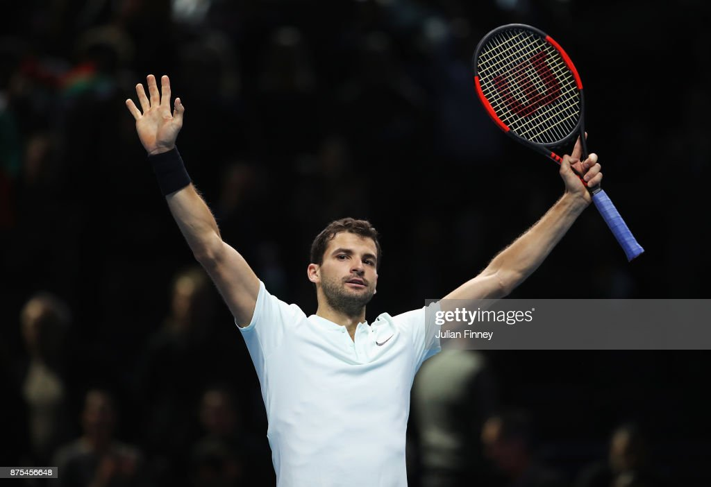 Grigor Dimitrov of Bulgaria celebrates victory in his Singles match against Pablo Carreno Busta of Spain during day six of the Nitto ATP World Tour Finals at O2 Arena on November 17, 2017 in London, England.