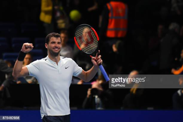 Grigor Dimitrov of Bulgaria celebrates victory in his Singles match against Pablo Carreno Busta of Spain during day six of the Nitto ATP World Tour...