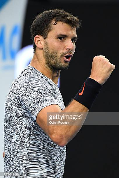 Grigor Dimitrov of Bulgaria celebrates winning his fourth round match against Denis Istomin of Uzbekistan on day eight of the 2017 Australian Open at...