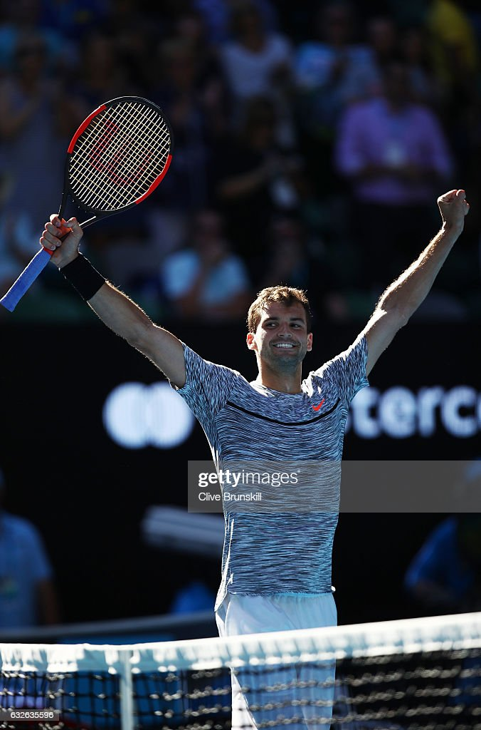 Grigor Dimitrov of Bulgaria celebrates winning his quarterfinal match against David Goffin of Belgium on day 10 of the 2017 Australian Open at Melbourne Park on January 25, 2017 in Melbourne, Australia.