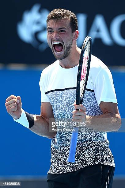 Grigor Dimitrov of Bulgaria celebrates winning his third round match against Marcos Baghdatis of Cyprus during day five of the 2015 Australian Open...