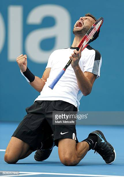 Grigor Dimitrov of Bulgaria celebrates winning match point in his semi final match against Gilles Muller of Luxembourg during day six of the 2016...