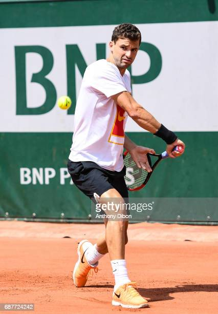 Grigor Dimitrov of Bulgaria during training session of the 2017 French Open at Roland Garros on May 24 2017 in Paris France
