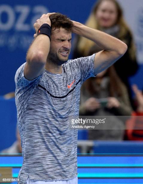 Grigor Dimitrov of Bulgaria gestures after winning the 2017 Garanti Koza Sofia Open tennis tournament men's final singles tennis match against David...